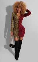 Sexy Plaid Print Deep V Patchwork Drawstring Mini Dress GS-1168