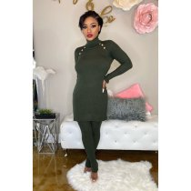 Solid Turtleneck Long Tops And Pants 2 Piece Sets IV-8069