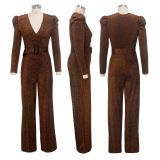 Sexy V Neck Long Sleeve Belted Jumpsuits SMR-9529