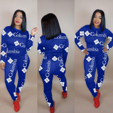 Plus Size Letter Print Long Sleeves 2 Piece Pants Set FNN-8346