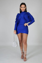 Sexy Long Sleeve Ruched Irregular Mini Dress YH-5127