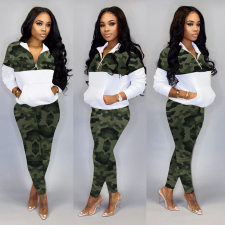 Plus Size Camo Print Two Piece Pants Set HGL-1273