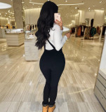 Casual Holes Black Skinny Strap Jumpsuits BS-1159