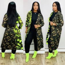 Camouflage Print Patchwork Maxi Trench Coats NK-8527