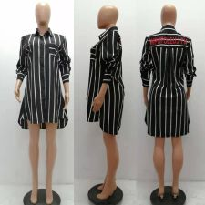 Sexy Striped Long Sleeves Loose Shirt Dress YSF-325