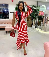 Sexy Striped Off Shoulder Long Dresses BS-1160