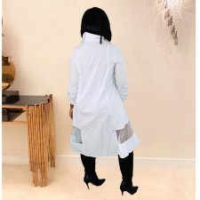 Casual Mesh Patchwork Full Sleeve Long Shirt Dress TK-6060