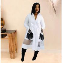 Casual Mesh Patchwork Full Sleeve Long Shirt Dress TK-6060