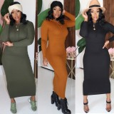 Solid Hooded Long Sleeves Slim Maxi Dresses CM-648