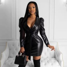 Sexy Faux Feather V Neck Black Mini Dress With Belt YIS-842