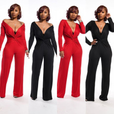 Sexy Deep V Neck Long Sleeve Solid Jumpsuits YD-8164
