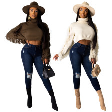 Solid Knitted Turtleneck Tassel Short Sweater Tops TE-3913
