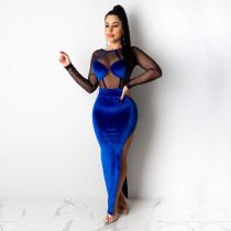 Velvet Mesh Patchwork High Split Backless Maxi Dress MEI-9075