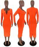 Solid Long Sleeve Sexy Split Slim Long Dress MX-10855