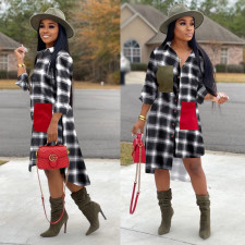 Plaid Printed Long Sleeve Irregular Shirt Dresses OM-1099