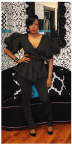 Solid Puff Sleeve Peplum Top And Pants Set HM-6187