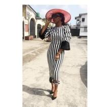 Fashion Stripe Three Quarter Sleeve Maxi Dress KSN-5103