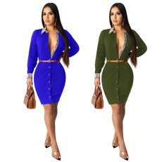 Trendy Long Sleeve Button Up Mini Dress With Belt TE-3910