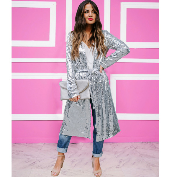Trendy Sequin Long Sleeve Sashes Maxi Coats TR-1000