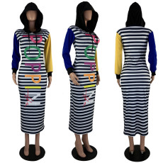 Casual Stripe Printed Hooded Long Maxi Dress MOY-5161