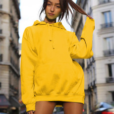 Casual Loose Solid Hooded Sweatshirt Dresses OM-1102