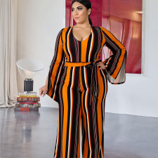 Plus Size Stripe Long Sleeve Sashes Jumpsuits ME-5082