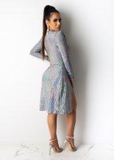 Sexy Deep V Neck Long Sleeve Split Club Dress OSM-5363