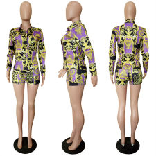 Fashion Printed Blouse Top And Shorts 2 Piece Suit LSL-8032