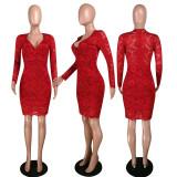 Sexy Lace V Neck Long Sleeve Bodycon Dress MYP-8906