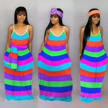 Rainbow colorful striped maxi dress MTY-6278