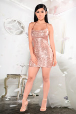Sexy Sequin Spaghetti Strap Backless Mini Club Dresses LX-8917