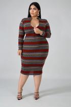 Plud Size Stripe Long Sleeve Bodycon Midi Dress OSM2-4081