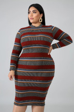 Plud Size Stripe Long Sleeve Bodycon Midi Dress OSM2-4081