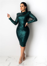 Fashion Sexy Sequin Bodycon Midi Dress OSM-5267