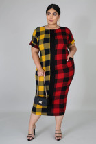 Plus Size 5XL Plaid Print Short Sleeve Long Dress OSM2-3299