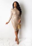 Fashion Sexy Sequin Bodycon Midi Dress OSM-5267