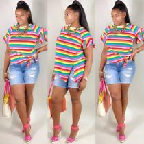 Colorful Stripe Ruffles Sleeve Irregular T Shirt LP-669