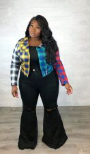 Coloful Plaid Zipper Short Jacket Coat Plus Size 5XL OSM2-5258