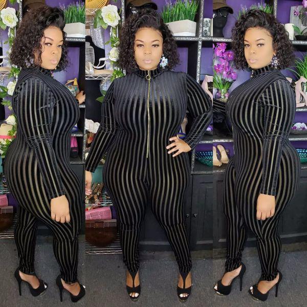 Big Size 5XL Stripe Long Sleeve Skinny Jumpsuits OSM2-4088