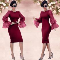 Elegant Organza Sleeve Pearls Slim Midi Dress LA-3050