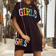Black Letter Print Casual Loose T Shirt Dress FNN-8062
