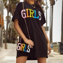 Black Letter Print Casual Loose T Shirt Dress FNN-8062