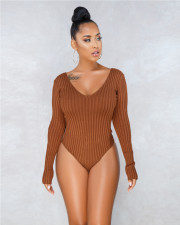 Solid Long Sleeve Sexy Bodycon Bodysuit WY-6502