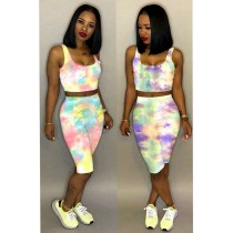 Tie Dye Print Sleeveless Two Piece Shorts Sets LM-8123