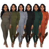 Solid Piles Sleeves Turtleneck Two Piece Pants Set IV-8065