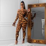 Leopard Print Bodysuit And Pants Two Piece Sets OSM-3289