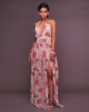 Sexy High Split Halter Backless Embroidery Maxi Dress OSM-3043