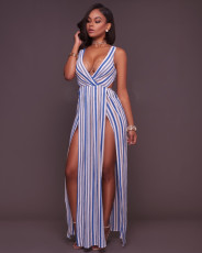 Sexy Stripe V Neck High Split Maxi Dress OSM-3038