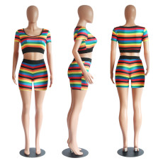 Rainbow Stripe Short Sleeve Two Piece Shorts Set PN-6310