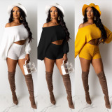 Solid Long Sleeve Tops And Shorts 2 Piece Sets OFN-6330